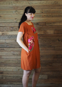 Pinafore Pocket Dress Tangerine and Pink