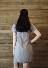 Load image into Gallery viewer, Pinafore Pocket Dress Taupe and Yellows