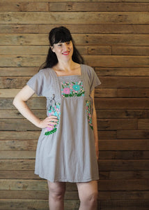 Pinafore Pocket Dress Taupe and Pastels