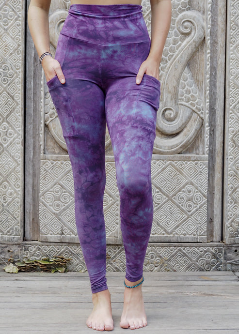 Pocket Leggings - Purple Stonewash