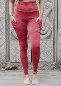 Pocket Leggings - Red Stonewash