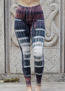 Tie dye Leggings- Mocha Black and White Rivers