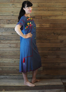 Romina Maxi Dress in Blue and Crimson