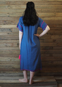Romina Maxi Dress in Blue and Hot Pink