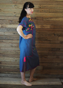 Romina Maxi Dress in Blue and Magenta
