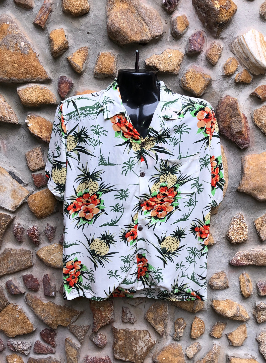 Small Love Shirt - Hibiscus and Pineapples on White