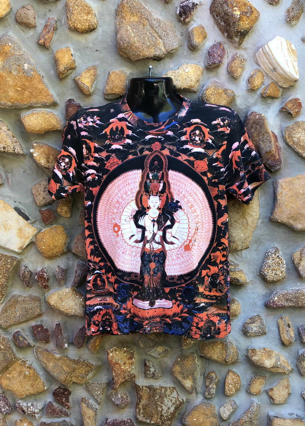 Small Funky Tee - White Buddha - Full Print