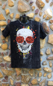 Small Funky Tee - Day of the Dead Skull - Black