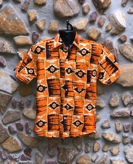 Small Love Shirt Cotton - Orange and Black African Print