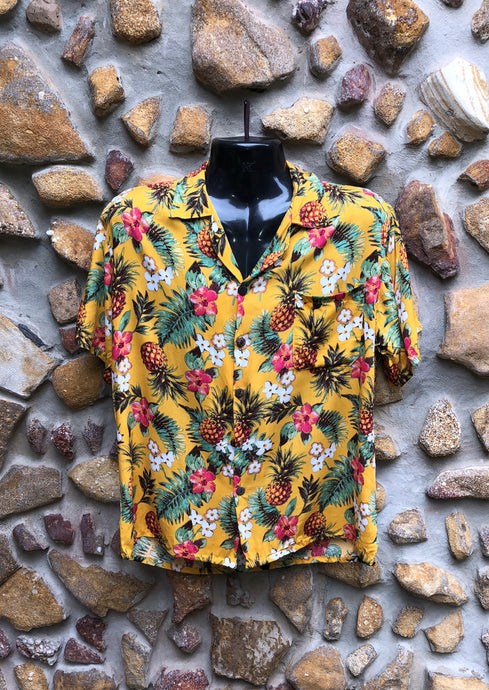 Small Love Shirt - Pineapples and Flowers on Yellow