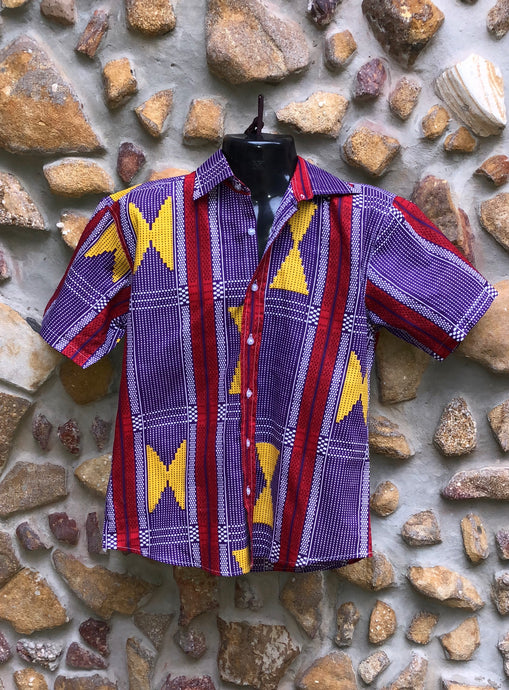 Small Love Shirt - Purple, Yellow and Red African Print