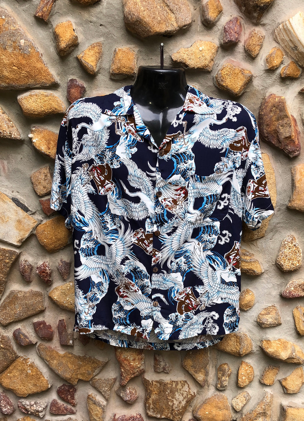 Small Love Shirt - Cranes on Navy Japanese Print
