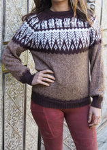 Load image into Gallery viewer, Small - Brown Feather Knitted Alpaca Jumper