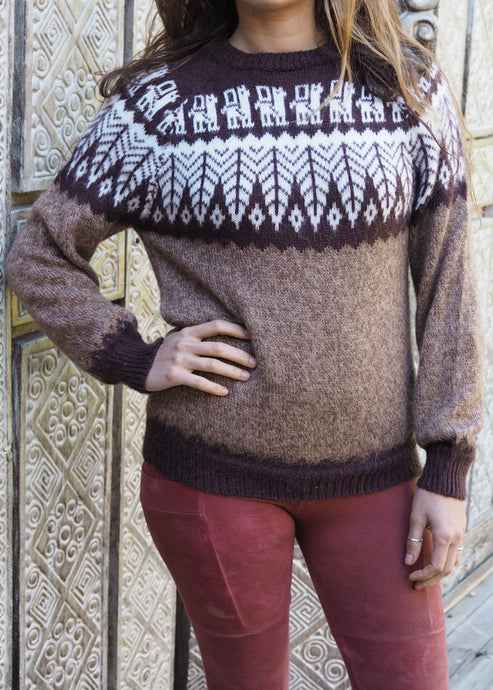 Small - Brown Feather Knitted Alpaca Jumper