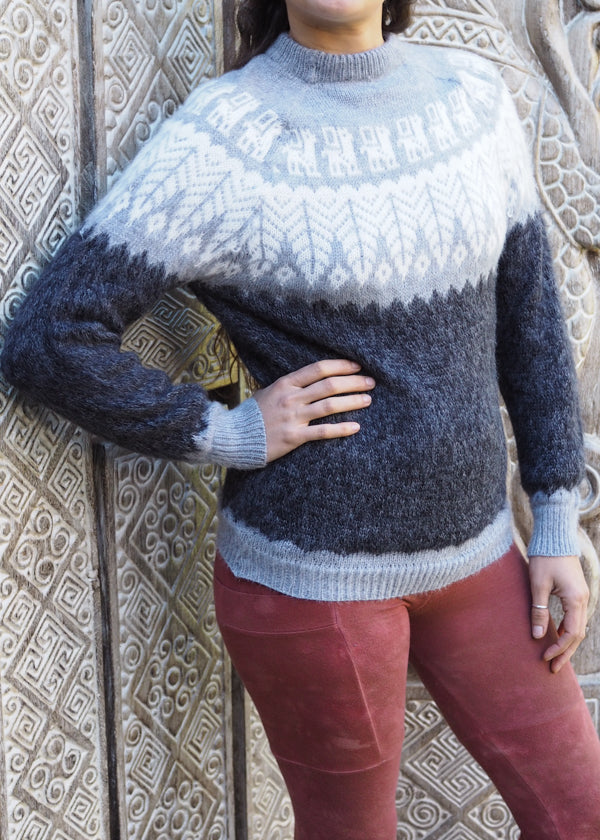 Small - Speckled Charcoal Feather Knitted Alpaca Jumper
