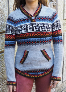 Small - Grey and Blue Alpaca Jumper