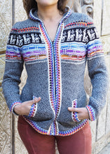 Load image into Gallery viewer, Small - Slim fit Grey Lama's Alpaca Cardigan