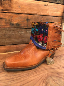 Size 37 Blunt-toe Cowgirl Bling Boots Green and Blue Birds