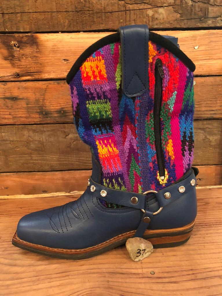 Size 37 Blunt-toe Cowgirl Bling Boots Rainbow Bright
