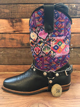 Load image into Gallery viewer, Size 38 Blunt-toe Cowgirl Bling Boots Purple Diamonds