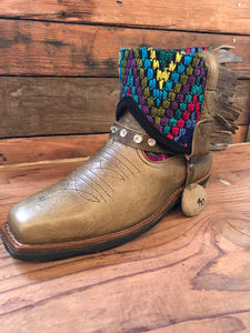 Size 40 Blunt-toe Cowgirl Bling Boots Cats and Birds on Crimson and Rainbow Scales