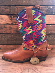 Size 40 Blunt-toe Cowgirl Bling Boots Rainbows and Pink Butterflies