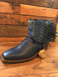 Size 41 Blunt-toe Cowgirl Bling Boots Blue Embroidery