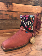 Load image into Gallery viewer, Size 41 Blunt-toe Cowgirl Bling Boots Crimson Embroidery and Aztec
