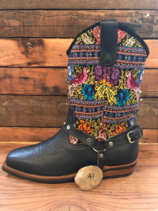 Size 41 Blunt-toe Cowgirl Bling Boots Flower Garden and Aztec