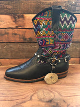 Load image into Gallery viewer, Size 41 Blunt-toe Cowgirl Bling Boots Rainbow Zigzags and Blue
