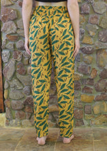 Load image into Gallery viewer, Slim-Fit Pocket Pants - Green Leaves on Mustard