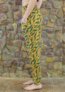 Slim-Fit Pocket Pants - Green Leaves on Mustard