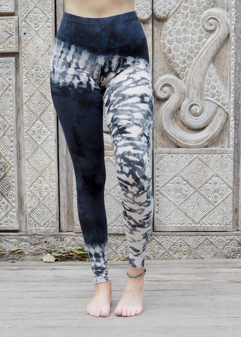 Tie dye Leggings- Asymmetric Black and White