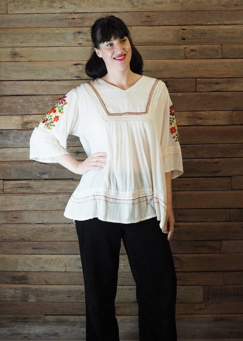 Wide-Sleeve Blouse