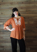 Load image into Gallery viewer, Wildflower Blouse Burnt Orange and White