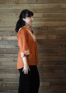 Wildflower Blouse Burnt Orange and White