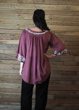 Load image into Gallery viewer, Wildflower Blouse Eggplant and White