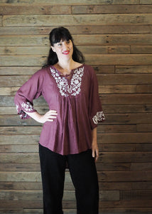 Wildflower Blouse Eggplant and White