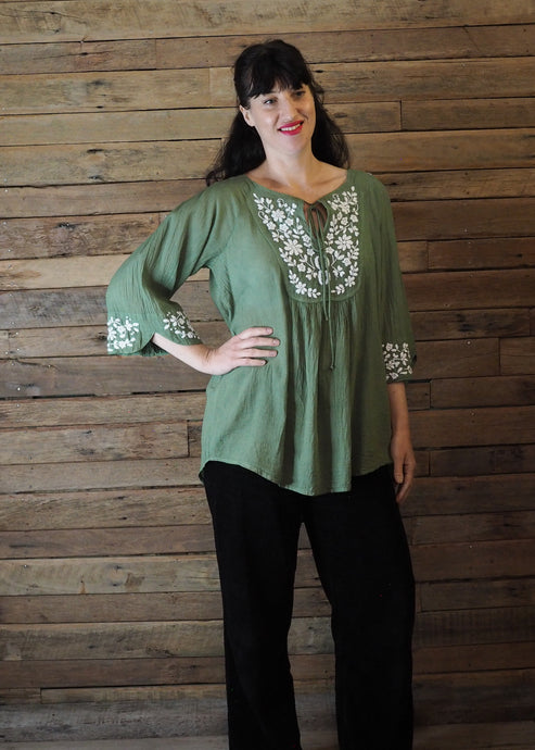 Wildflower Blouse Sage and White