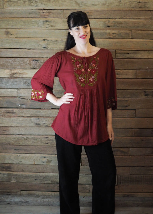 Wildflower Blouse Red Florals on Crimson