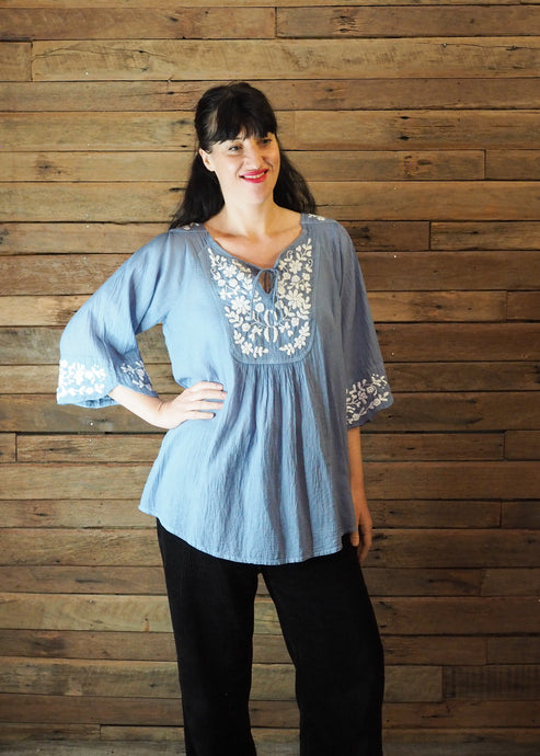 Wildflower Blouse Blue and White