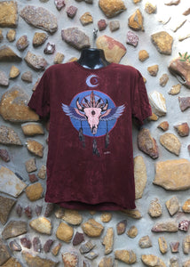 Extra Large Funky Tee - Bull Totem - Burgundy