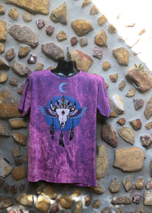 Extra Large Funky Tee - Bull Totem - Pinky Purple