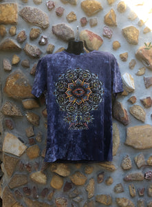 Extra Large Funky Tee - Eye in a Flower - Dark Blue