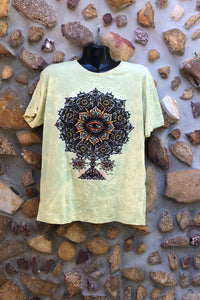 Extra Large Funky Tee - Eye in a Flower - Grey Yellow