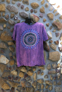Extra Large Funky Tee - Feather Mandala - Pinky Purple