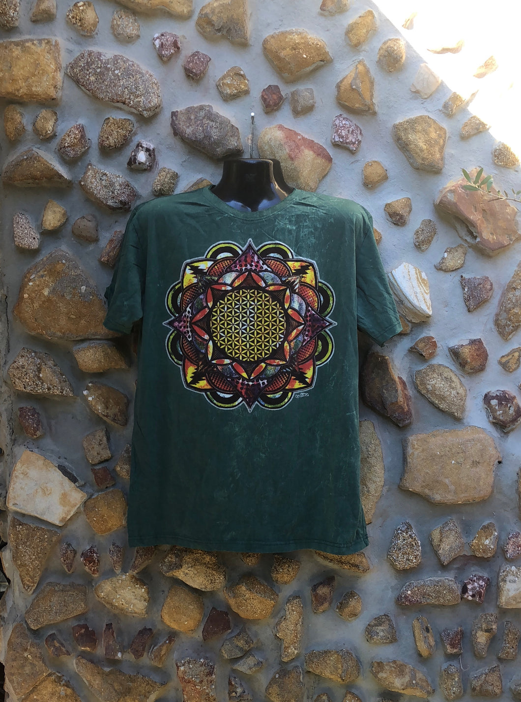 Extra Large Funky Tee - Flower of Life Mandala - Green