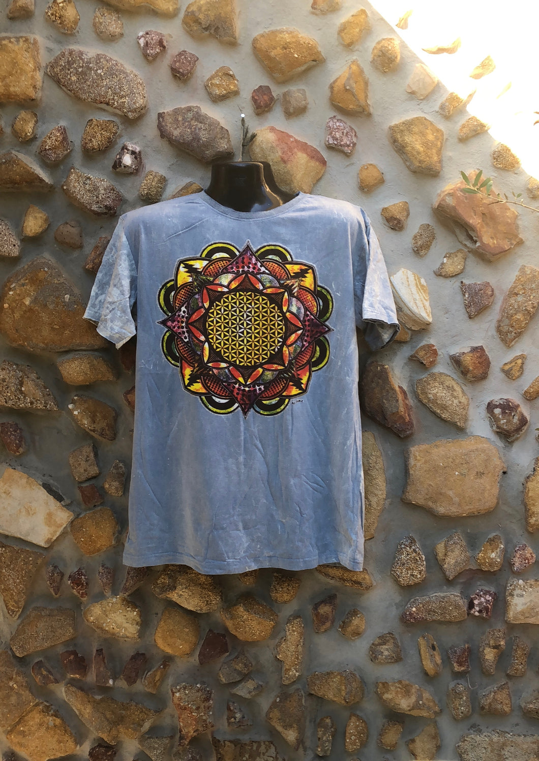 Extra Large Funky Tee - Flower of Life Mandala - Grey
