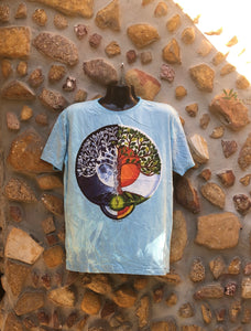 Extra Large Funky Tee - Moon Sun Tree - Baby Blue