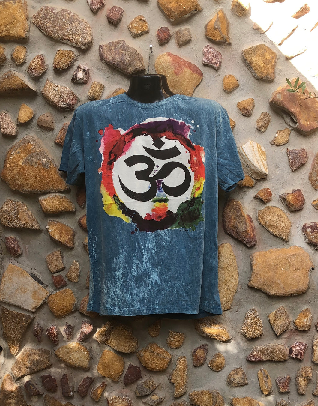 Extra Large Funky Tee - Om in a Rainbow - Dark Green